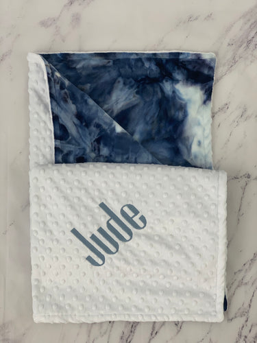 Navy Tie Dye White Bubble Back Blanket No Ruffle