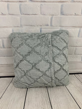 Load image into Gallery viewer, Gray Lattice with White Embroidery & No Ruffle Pillow