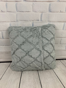 Gray Lattice with White Embroidery & No Ruffle Pillow