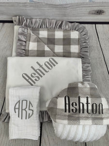 Gray/White Buffalo Check with Ruffle Gift Set