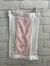 Load image into Gallery viewer, Pink Damask with White Satin Burp Cloth