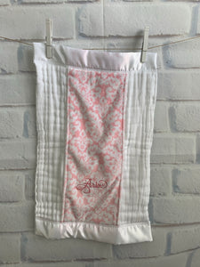 Pink Damask with White Satin Burp Cloth