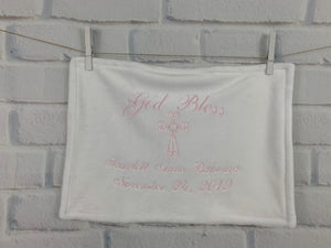 White with Pink Embroidery Baptism Towel