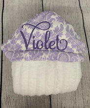 Load image into Gallery viewer, Lavender Damask Hooded Towel