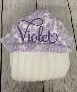 Lavender Damask Hooded Towel