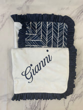 Load image into Gallery viewer, Navy/White/Gray Herringbone with Flat White Back & Navy Ruffle Blanket