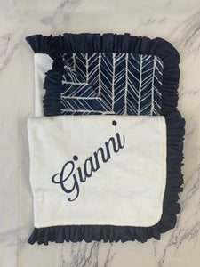 Navy/White/Gray Herringbone with Flat White Back & Navy Ruffle Blanket