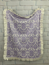 Load image into Gallery viewer, Lavender/Ivory Damask with Flat Lavender Back & Ivory Ruffle Blanket