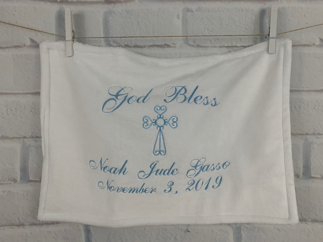 White with Blue Embroidery Baptism Towel