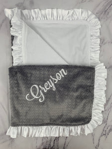 Gray Hounds-tooth & White Ruffle Blanket