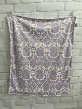 Load image into Gallery viewer, Lavender/Ivory Damask with Flat Ivory Back Blanket No Ruffle