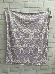 Lavender/Ivory Damask with Flat Ivory Back Blanket No Ruffle