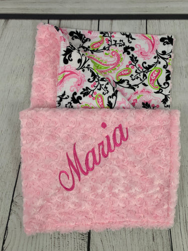 Pink/Green/Black Paisley with Pink Swirly Back Blanket No Ruffle