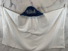Load image into Gallery viewer, Denim Blue Oxford Hooded Towel White Embroidery