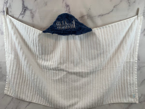 Denim Blue Oxford Hooded Towel White Embroidery
