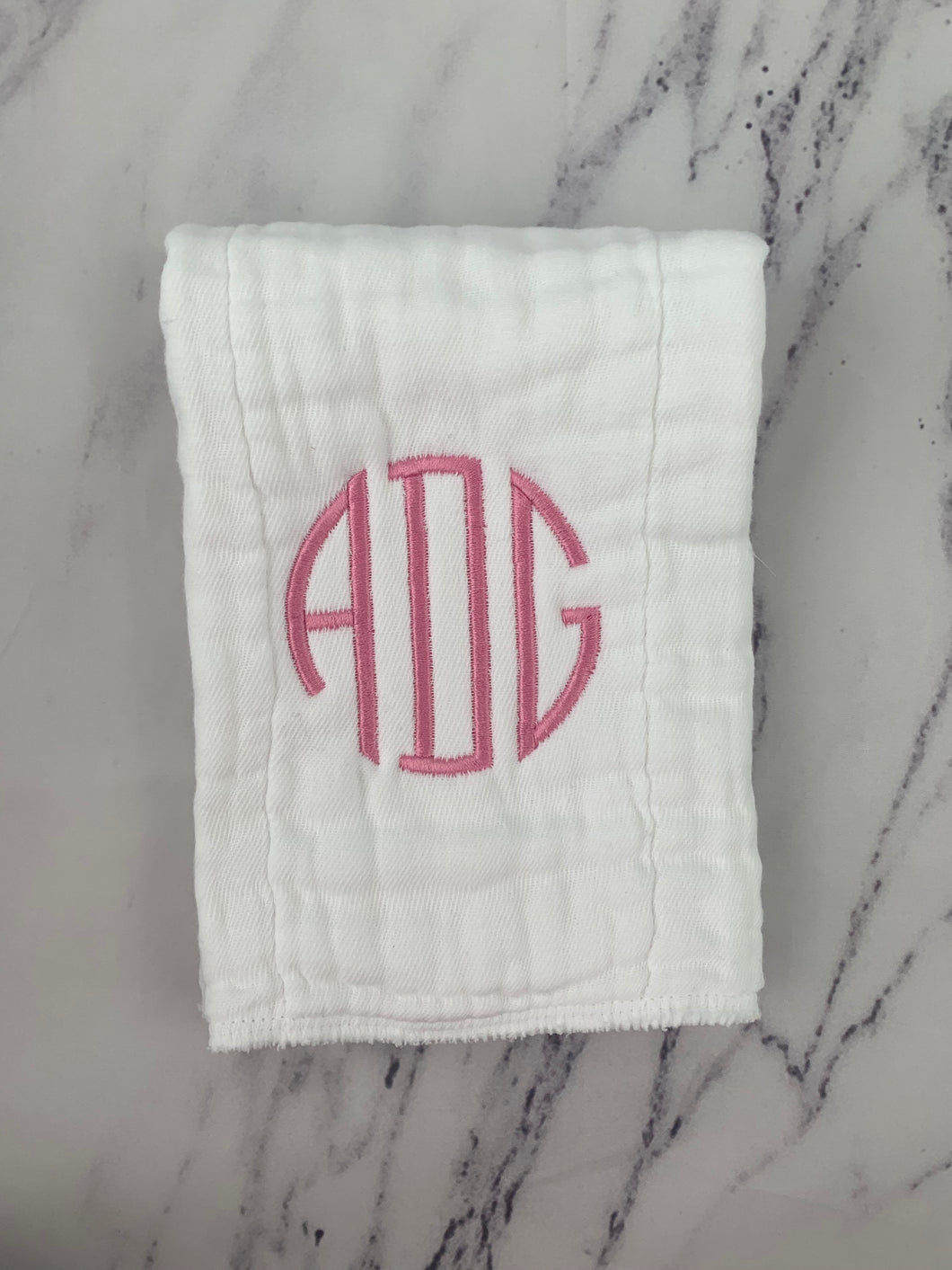 Dark Pink Monogram Burp Cloth