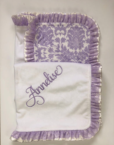 Lavender Damask with Flat Ivory Back Ivory Satin & Lavender Lace Ruffle Blanket
