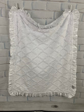 Load image into Gallery viewer, White Lattice Both Sides with White Satin Ruffle Blanket