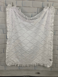 White Lattice Both Sides with White Satin Ruffle Blanket