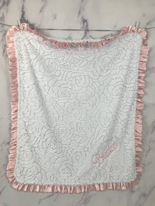 White Embossed Roses Baby Pink Ruffle Blanket