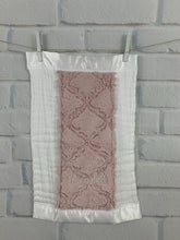 Load image into Gallery viewer, Pink Lattice with White Satin Burp Cloth