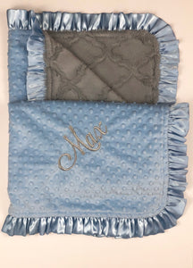 Gray Lattice with Baby Blue Bubble Back & Baby Blue Ruffle Blanket