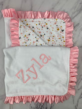 Load image into Gallery viewer, Pink/white/gold Stars with flat white back & pink ruffle blanket
