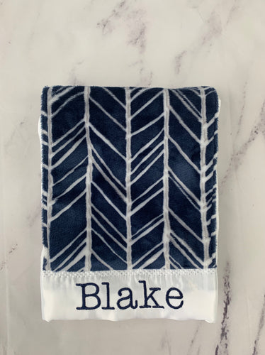 Navy/Gray/White Herringbone Burp Cloth