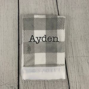 Gray Buffalo Check Burp Cloth