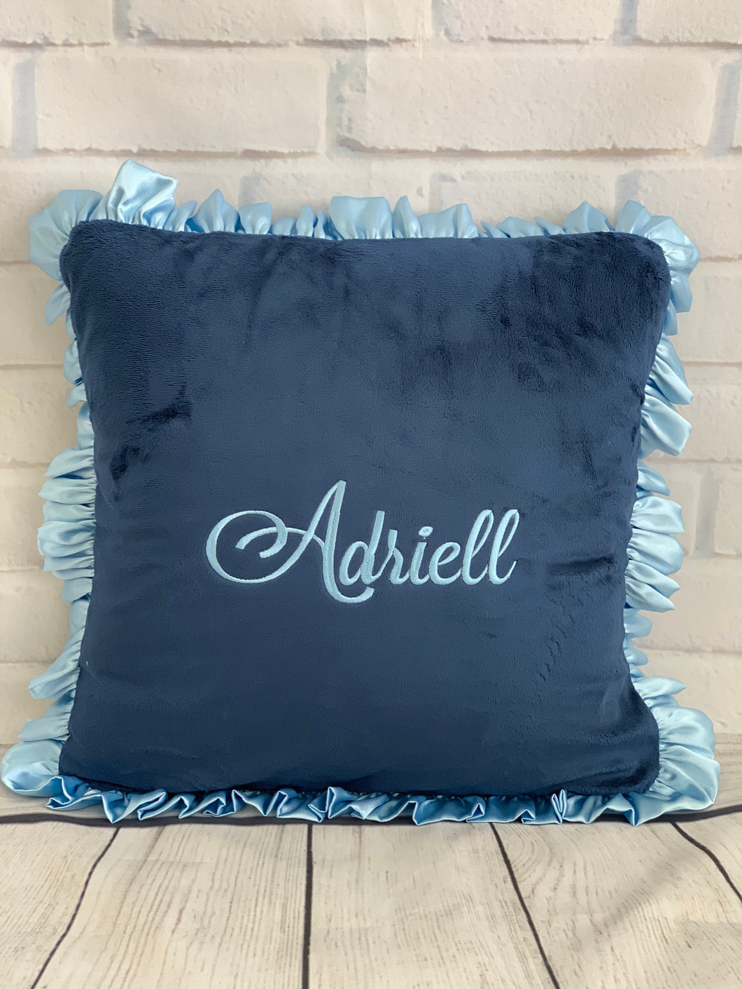 Flat Navy with Baby Blue Ruffle & Baby Blue Embroidery Pillow