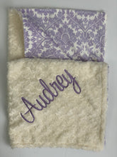 Load image into Gallery viewer, Lavender Damask with Cream Swirly Back Blanket No Ruffle
