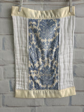 Load image into Gallery viewer, Blue/Ivory Damask with Ivory Satin Burp Cloth