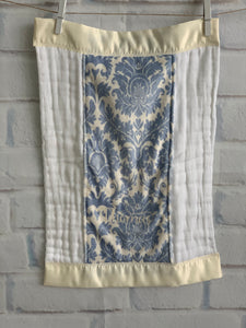 Blue/Ivory Damask with Ivory Satin Burp Cloth