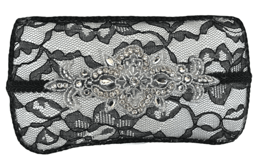 Black Lace, White Lining, Black trim with Applique Baby Wipe Case