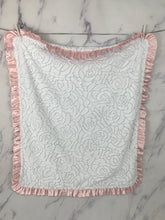 Load image into Gallery viewer, White Embossed Roses Baby Pink Ruffle Blanket