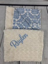 Load image into Gallery viewer, Blue/Ivory Damask with Cream Swirly Back Blanket No Ruffle