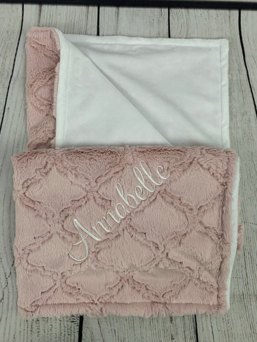 Pink Lattice Blanket Flat White Back No Ruffle