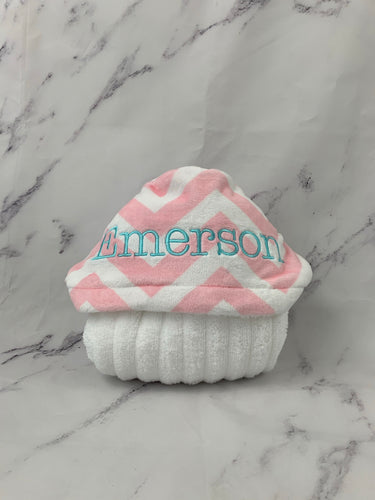 Pink/White Chevron Aqua Embroidery Hooded Towel