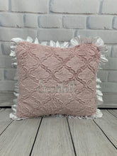 Load image into Gallery viewer, Pink Lattice with White Embroidery & White Ruffle Pillow