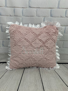 Pink Lattice with White Embroidery & White Ruffle Pillow