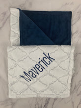 Load image into Gallery viewer, White Lattice Flat Navy Back Blanket No Ruffle
