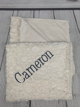 Load image into Gallery viewer, Ivory pebble with flat ivory Back Blanket No Ruffle