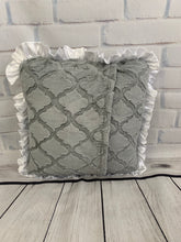 Load image into Gallery viewer, Gray Lattice with White Ruffle & White Embroidery Pillow