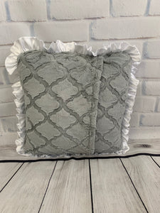 Gray Lattice with White Ruffle & White Embroidery Pillow