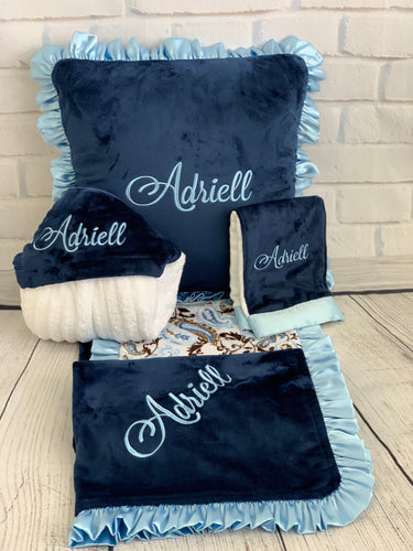 Blue/Brown Paisley with Ruffle Gift Set