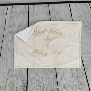 Cream with Gold Embroidery Baptism Towel