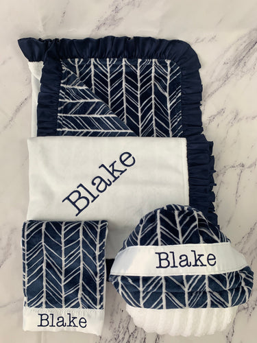 Navy, Gray & White Herringbone with Navy Ruffle Gift Set