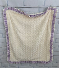 Load image into Gallery viewer, Ivory Vine with Ivory Swirly Back Ivory Satin & Lavender Lace Ruffle Blanket