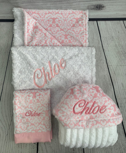 Pink Damask No Ruffle Gift Set