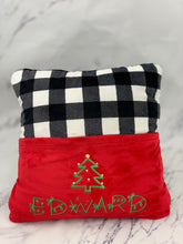 Load image into Gallery viewer, Buffalo Check Red Pocket Reading Pillow
